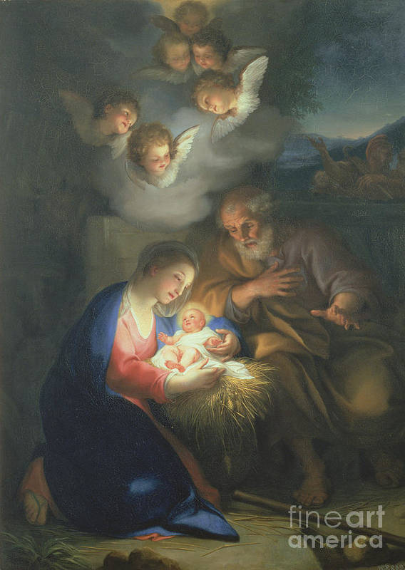 Neo-classical;angel Print featuring the painting Nativity Scene by Anton Raphael Mengs