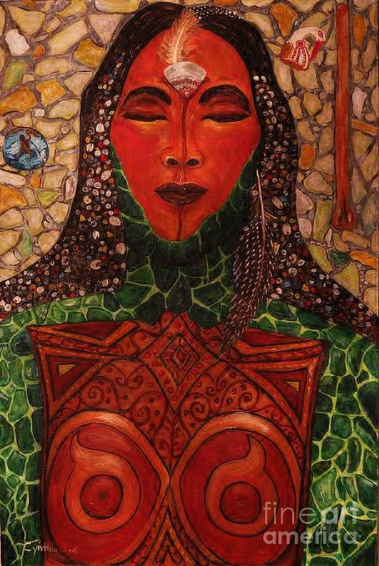 Abstract Print featuring the painting Natural Warrior Goddess by Cynthia Hagenhoff