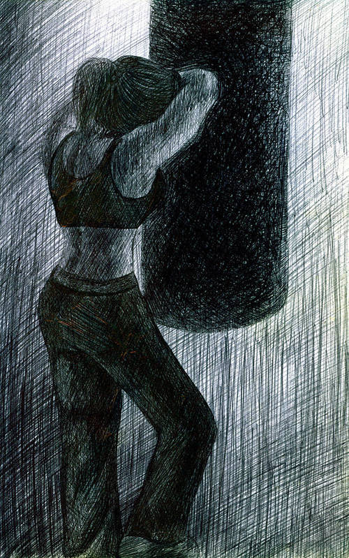 Boxing Print featuring the drawing Never Enough by Kd Neeley