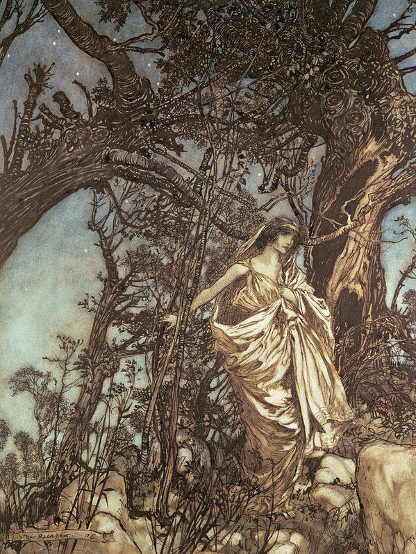 Hermia Print featuring the drawing Never So Weary Never So Woeful Illustration To A Midsummer Night S Dream by Arthur Rackham
