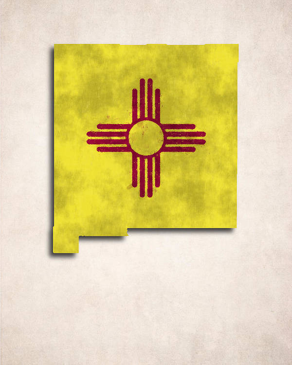 America Print featuring the digital art New Mexico Map Art With Flag Design by World Art Prints And Designs