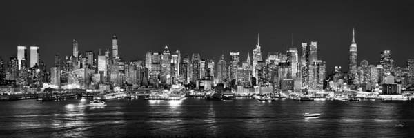 New York City Skyline At Night Print featuring the photograph New York City Nyc Skyline Midtown Manhattan At Night Black And White by Jon Holiday