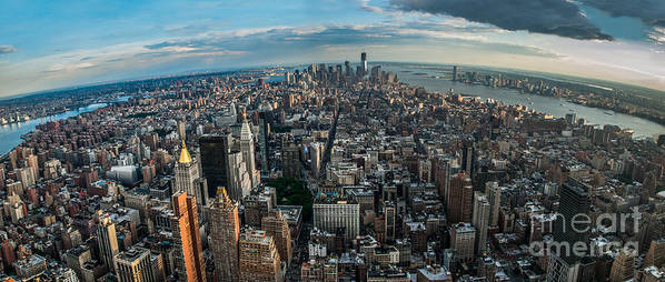 Manhatten Print featuring the photograph New York From A Birds Eyes - Fisheye by Hannes Cmarits