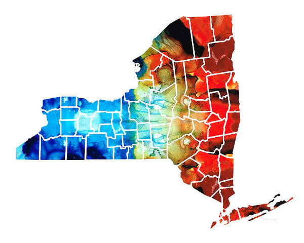New York Map Print featuring the painting New York - Map By Sharon Cummings by Sharon Cummings