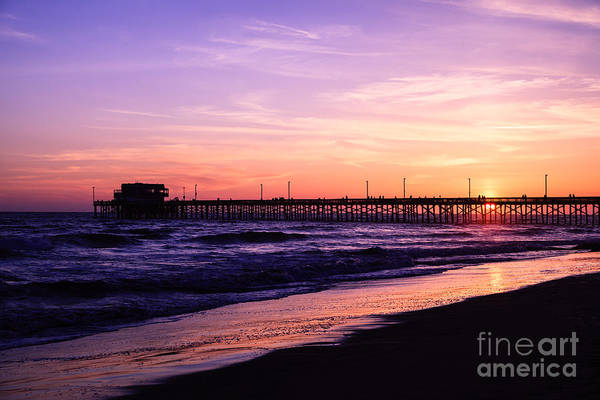 America Print featuring the photograph Newport Beach Pier Sunset In Orange County California by Paul Velgos