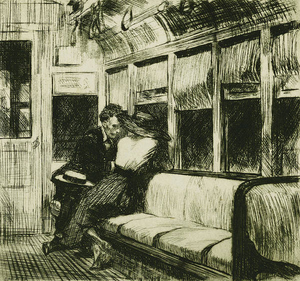 20th Century; Adult; Apparel; Attire; Bench; Black Print featuring the drawing Night On The El Train by Edward Hopper
