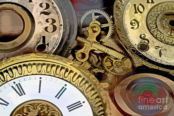 Clock Print featuring the photograph No More Time by Tom Gari Gallery-Three-Photography