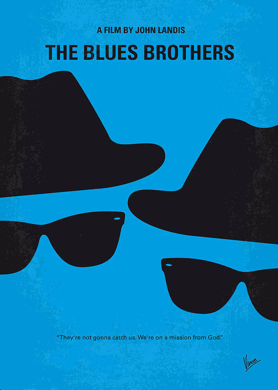 Blues Print featuring the digital art No012 My Blues Brother Minimal Movie Poster by Chungkong Art
