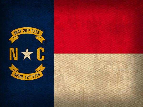 North Carolina State Flag Art On Worn Canvas Print by Design Turnpike