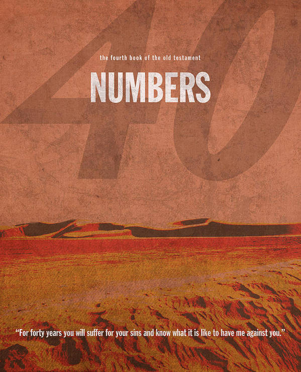 Numbers Print featuring the mixed media Numbers Books Of The Bible Series Old Testament Minimal Poster Art Number 4 by Design Turnpike