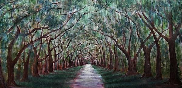Malakhova Print featuring the painting Oak Avenue by Anastasiya Malakhova