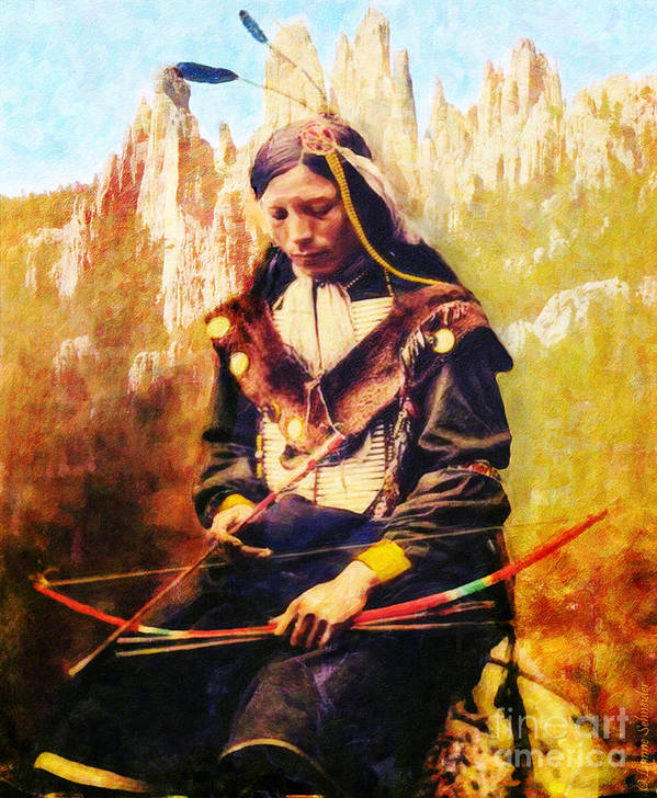 Native American Print featuring the digital art Oglala Homeland by Lianne Schneider