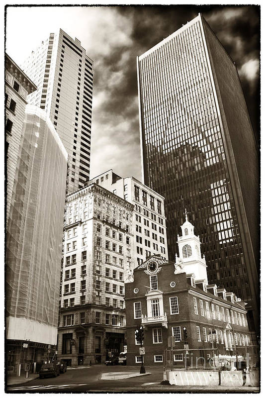 Old And New In Boston Print featuring the photograph Old And New In Boston by John Rizzuto