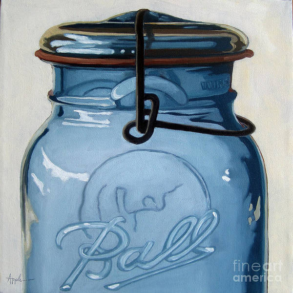 Realism Print featuring the painting Old Ball Jar -oil Painting by Linda Apple