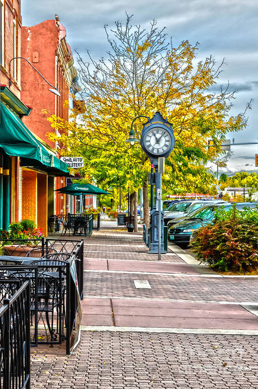 Fall Color Print featuring the photograph Old Clock by Baywest Imaging