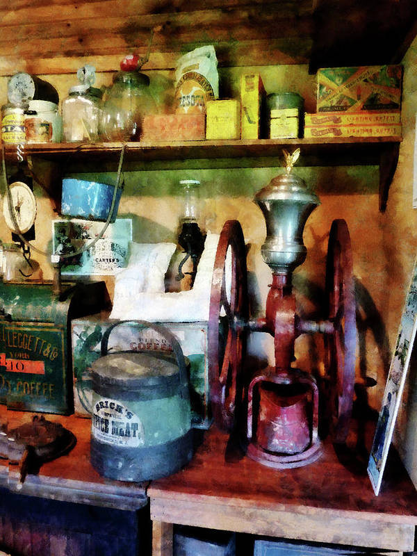 General Store Print featuring the photograph Old-fashioned Coffee Grinder by Susan Savad