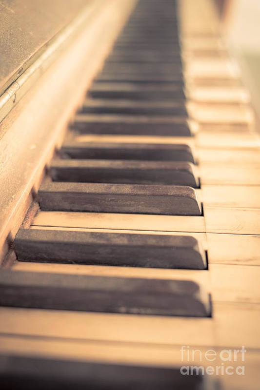 Piano Print featuring the photograph Old Piano Keys by Edward Fielding