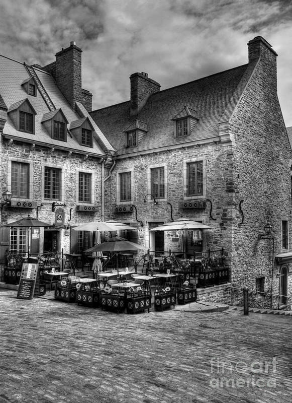 Quebec Print featuring the photograph Old Quebec City Bw by Mel Steinhauer