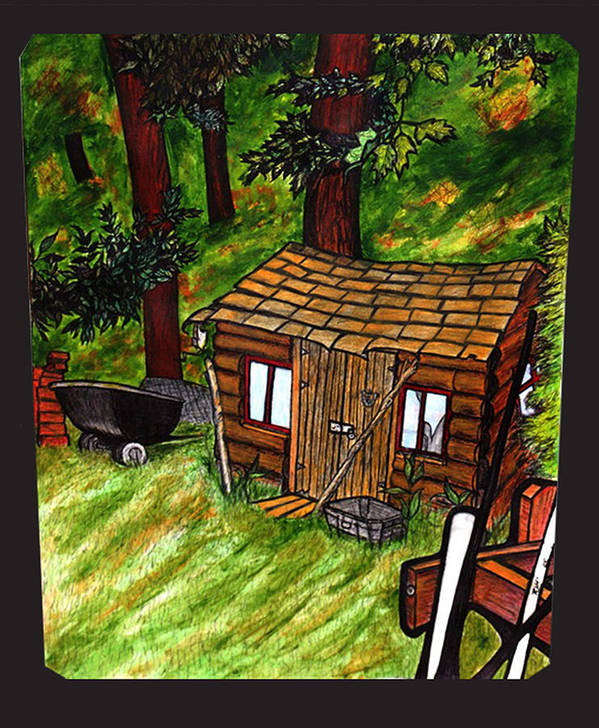 Landscape Print featuring the painting Old Shed Shed by Ryan Lee