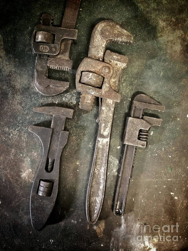 Spanner Print featuring the photograph Old Spanners by Carlos Caetano