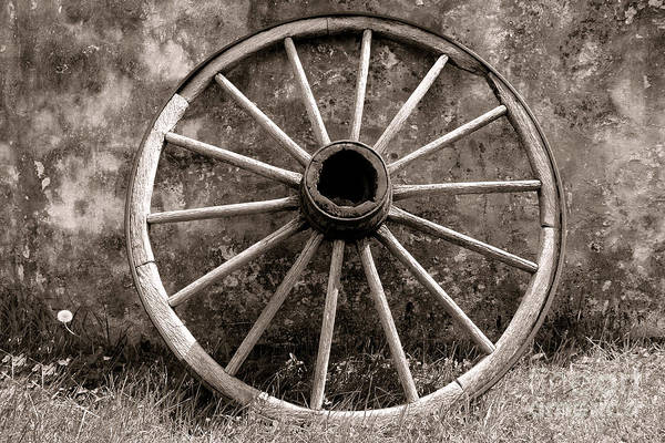 Wagon Print featuring the photograph Old Wagon Wheel by Olivier Le Queinec