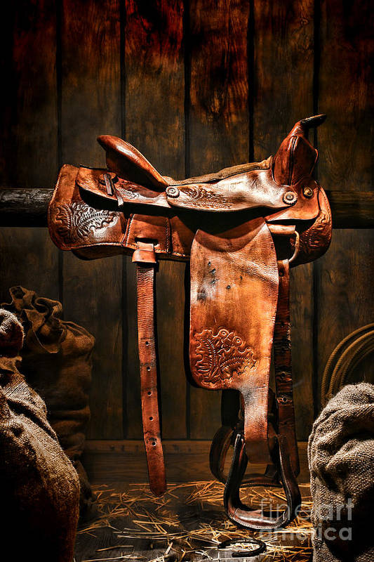 Saddle Print featuring the photograph Old Western Saddle by Olivier Le Queinec