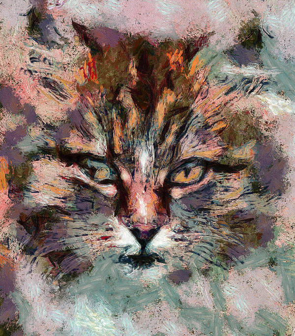 Kitty Print featuring the digital art One More Cat by Yury Malkov