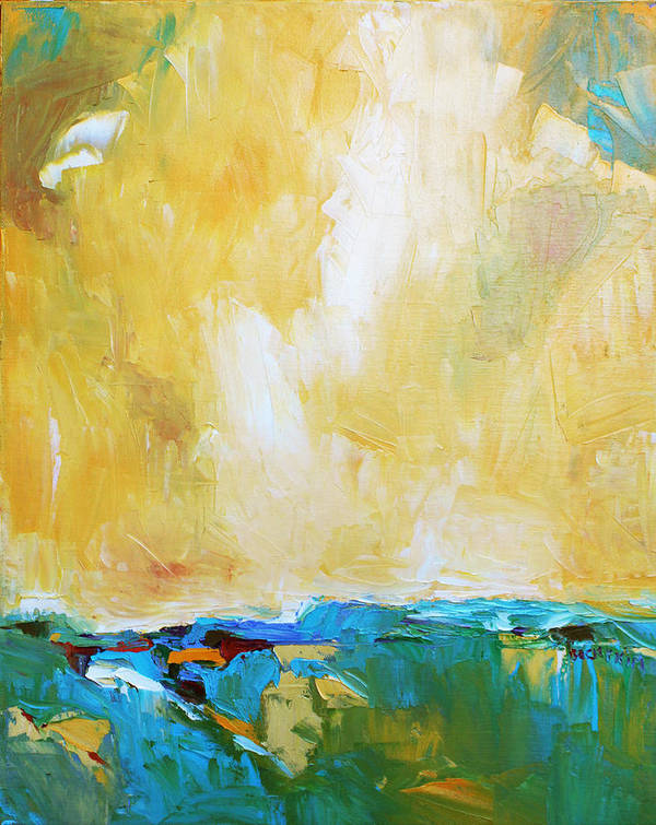 Landscape Print featuring the painting Openness by Becky Kim