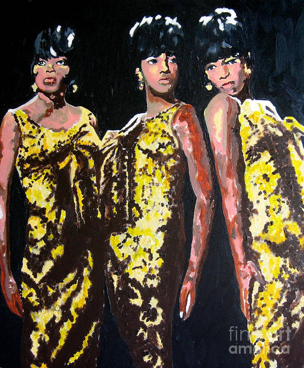 Diana Ross Print featuring the painting Original Divas The Supremes by Ronald Young