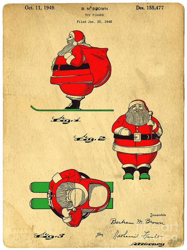 Santa Print featuring the drawing Original Patent For Santa On Skis Figure by Edward Fielding