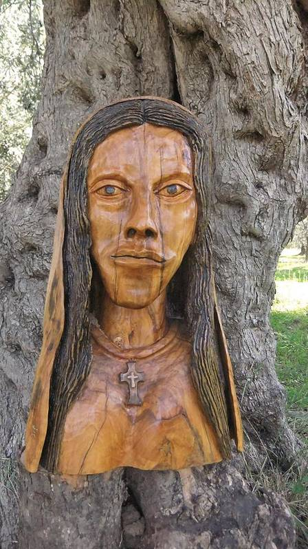 Our Lady Print featuring the sculpture Our Lady Olive Wood Sculpture by Eric Kempson