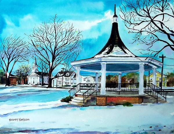 Oxford. Oxford Ma. Massachusetts Print featuring the painting Oxford Bandstand by Scott Nelson