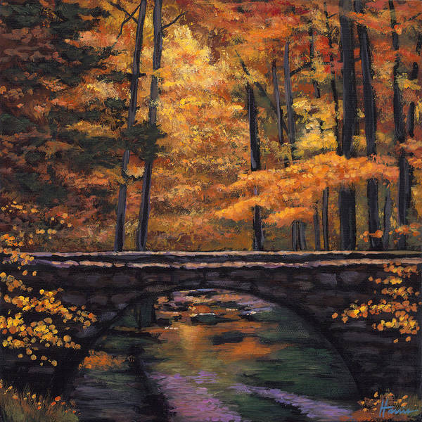 Landscape Print featuring the painting Ozark Stream by Johnathan Harris
