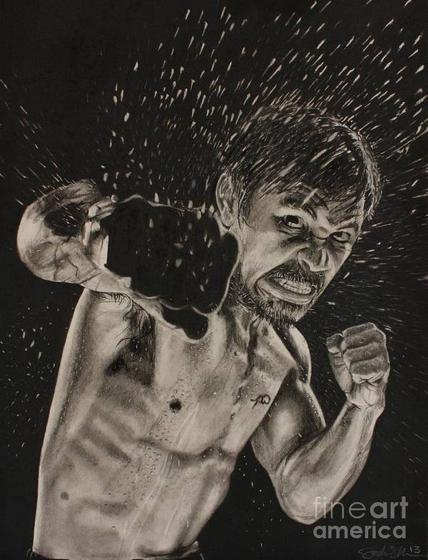 Manny Pacquiao Print featuring the drawing Pac-man by Joshua Navarra