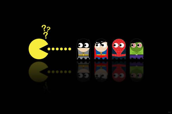 Pacman Print featuring the digital art Pacman Superheroes by NicoWriter