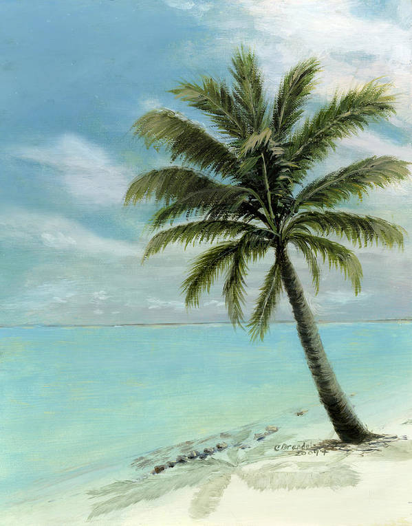 Original Oil On Canvas Cecilia Brendel Palm Tree Ocean Scene Turquoise Waters Cabos Bahamas Florida Keys Hawaii Turks And Caicos Clear Blue Sky Tranquil White Sand Beach Italy Italian Print featuring the painting Palm Tree Study by Cecilia Brendel
