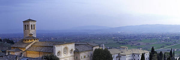 Italy Print featuring the photograph Panoramic View Of Assisi At Night by Susan Schmitz