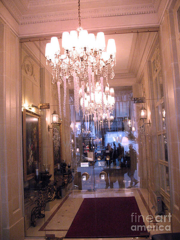 Paris French Chandeliers Print featuring the photograph Paris Pink Hotel Lobby Interiors Pink Posh Hotel Interior Arch And Chandelier Hallway by Kathy Fornal