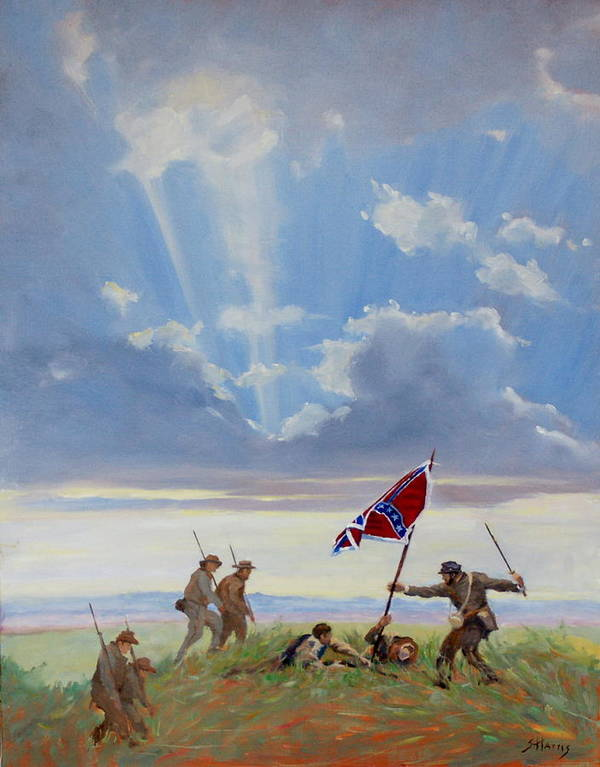 Civil War Print featuring the painting Passing On The Blood Stained Banner by Sandra Harris