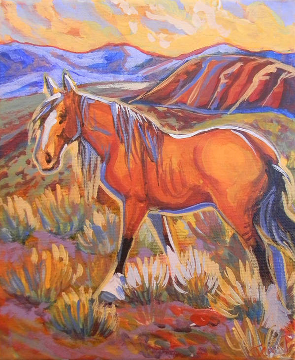 Horse Print featuring the painting Past His Prime by Jenn Cunningham