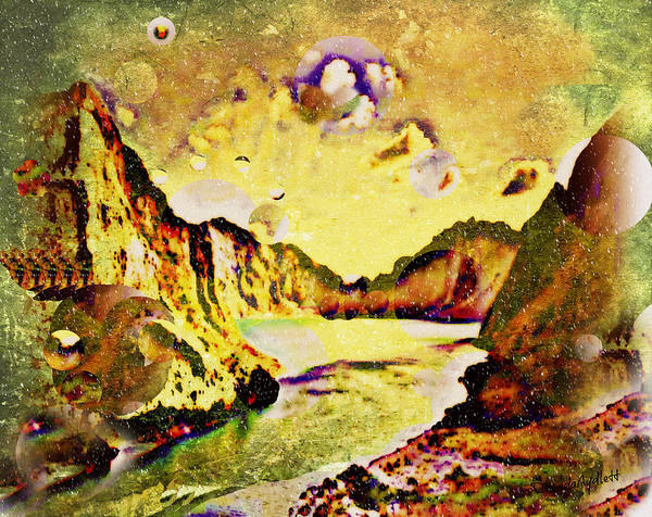 Fantasy Scape Print featuring the mixed media Peaceful Secret by YoMamaBird Rhonda