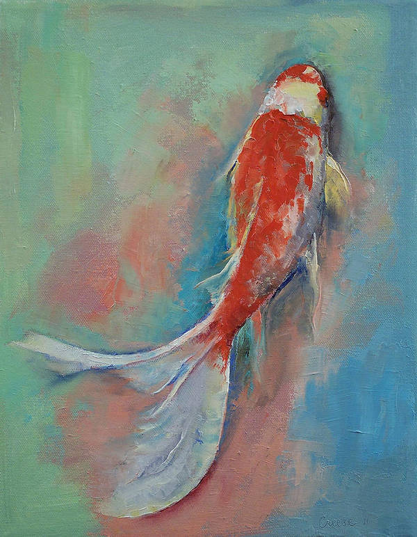 Pearl Print featuring the painting Pearl Banded Koi by Michael Creese