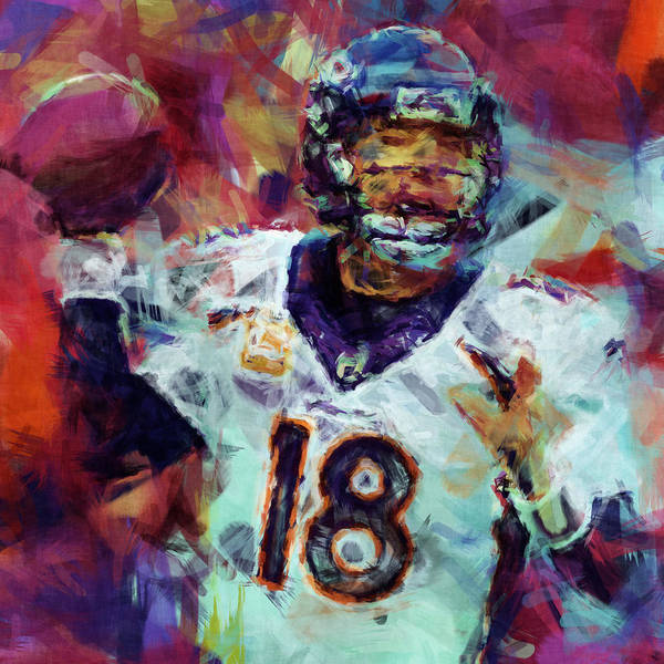Peyton Print featuring the digital art Peyton Manning Abstract 6 by David G Paul