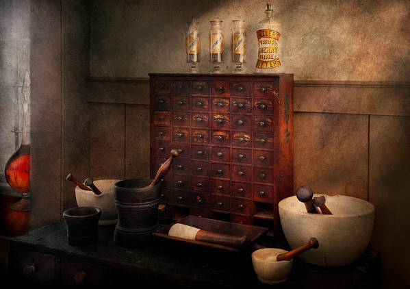 Hdr Print featuring the photograph Pharmacist - Organizing Powder by Mike Savad