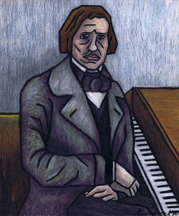 Chopin Print featuring the painting Piano's Finest Poet Fryderyk Chopin by Kamil Swiatek