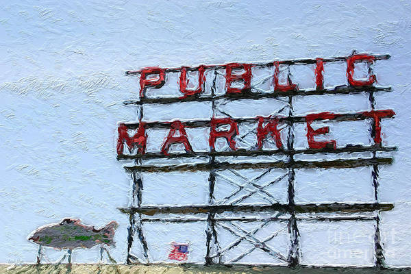 Seattle Print featuring the painting Pike Place Market by Linda Woods