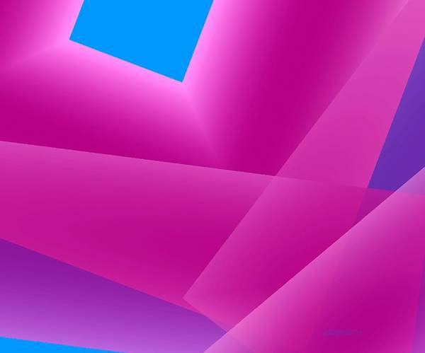 Pink And Blue Print featuring the digital art Pink And Blue Mixed Geometrical Art by Mario Perez