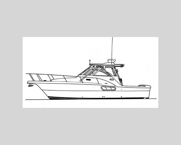 Ink Drawings By Jack Pumphrey Of Yacht Print featuring the drawing Pocket Yacht Profile by Jack Pumphrey