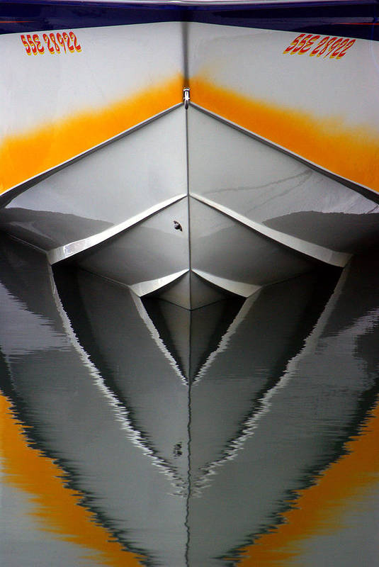 Boat Print featuring the photograph Pointy End Reflection by Paul Wash