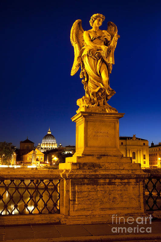 Angel Statue Print featuring the photograph Ponte Sant Angelo by Brian Jannsen